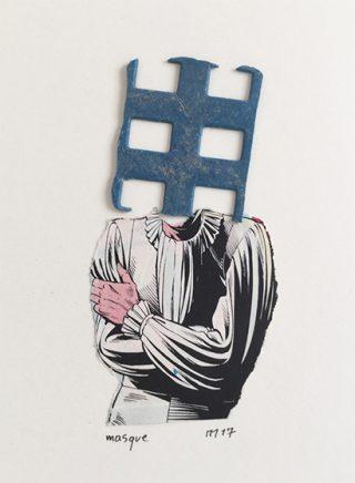 """masque, 14x12 cm, Collage à partir d'un débris trouvé et d'un fragment de""""trash""""BD Le masque  est l'image même de l'artiste qui opère un saut de la réalité vers une vision inversement proportionnelle à nos sens défaillants."""